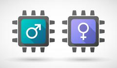 CPU icon set with gender signs - stock illustration