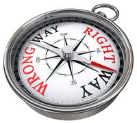 Right versus wrong way concept compass Stock Photos