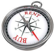 buy versus rent concept compass - stock photo