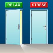relax and stress doors concept - stock illustration