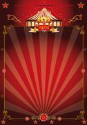 Magic red fantastic circus poster - stock illustration