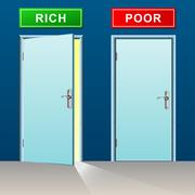 Rich and poor doors concept Piirros