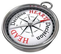 Heart vs head decision dilemma Stock Photos