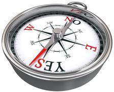 Yes or no dilemma compass conceptual image Stock Photos