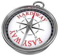 easy versus hard way dilemma concept compass - stock photo