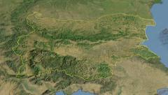 Glide over the satellite map of Bulgaria outlined Stock Footage