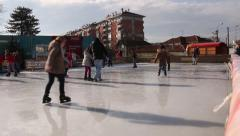 Little Children And Teens Skating On The Ice Rink Beautiful Winter Day Outdoors Stock Footage