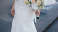 Young woman hold bouquet in her hands Stock Footage