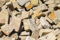 Sandstone, natural stone, quarry stone warehouse space - stock photo