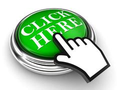 click here green button and pointer hand - stock photo