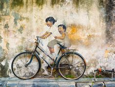 Penang Public art in Malaysia uses contrasting media of sculpture and painting f - stock photo