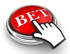 bet red button and pointer hand - stock photo