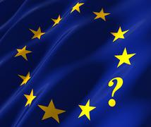 eu flag with questionmark - stock photo
