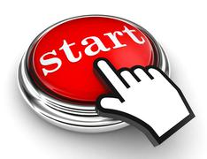 Start red button and pointer hand Stock Photos