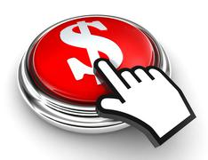 Dollar symbol red button and pointer hand Stock Photos
