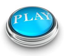 Play word on blue button Stock Photos