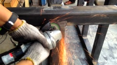 Metal sawing working in a steel Stock Footage