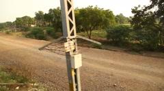 Train running through rural area Stock Footage