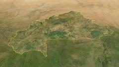 Glide over the satellite map of Burkina Faso outlined Stock Footage