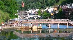 The river in the town Fenghuang The province of Hunan China. Stock Footage