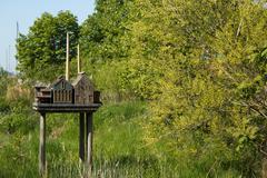 City replica birdhouse Stock Photos