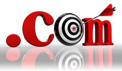 Dot com red word and conceptual target Stock Photos
