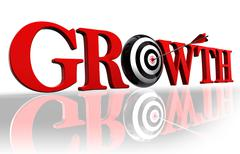 Growth red word and target Stock Photos