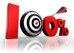 Hundred per cent conceptual target Stock Photos