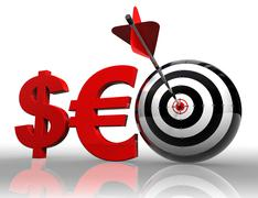 seo red word with dollar euro and target - stock photo