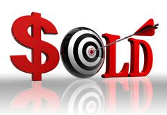 Sold red word and conceptual target Stock Photos