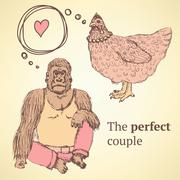 Sketch chicken and gorilla in vintage style Stock Illustration
