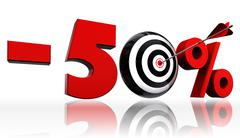 Fifty per cent 50% red discount symbol with conceptual target Stock Photos