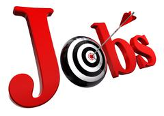 Jobs red word and conceptual target Stock Photos