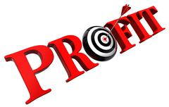 profit red word and conceptual target - stock photo