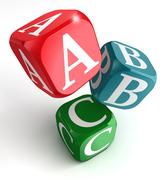 A,B and C on red, blue and green box - stock photo