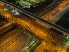 Multilevel crossroads illuminated at night in Tokyo Stock Photos