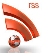 rss with earth globe - stock photo