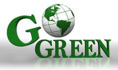 Go green logo word and earth globe Stock Photos