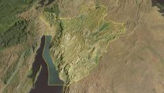 Glide over the satellite map of Burundi outlined Stock Footage