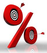 Per cent red symbol with conceptual targets Stock Photos