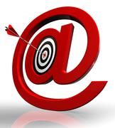email red symbol and concept target - stock photo