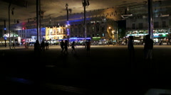 Marseille nightlife at Vieux-Port Pavilion Stock Footage