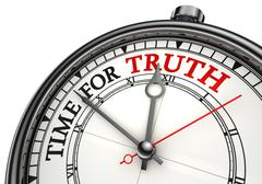 Time for truth concept clock Stock Photos