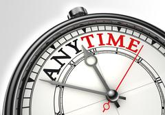 Anytime concept clock closeup Stock Photos
