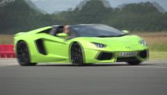 Lamborghini Aventador chicane and corner Stock Footage