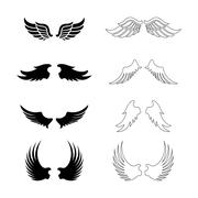 Set of vector wings - decorative design elements - black silhouettes Stock Illustration