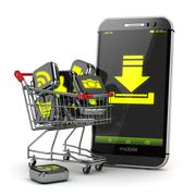 Downloading mobile apps concept. Application software icons in shopping cart - stock illustration