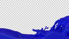 Stock Video Footage of Animated river of blue paint against transparent background