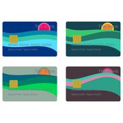Payment cards with sun over sea isolated on white - stock illustration