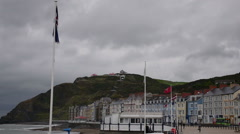 Waterfront of Aberystwyth on the west coast of Wales Stock Footage